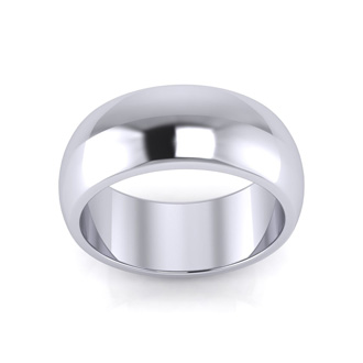 10K White Gold 8MM Ladies and Mens Wedding Band, Size 10, Free Engraving