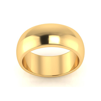 10K Yellow Gold 8MM Ladies and Mens Wedding Band, Size 7, Free Engraving