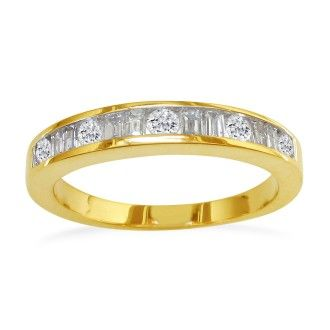 Fine Baguette & Round 1ct Diamond Band In 14K Yellow Gold
