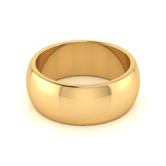 18K Yellow Gold 8MM Ladies and Mens Wedding Band, Size 11, Free Engraving