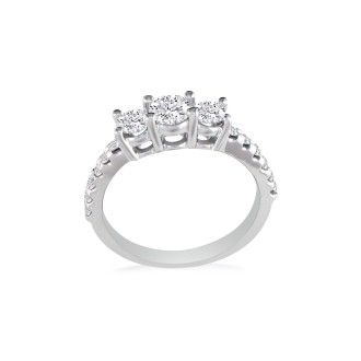 1ct Round Brilliant Cut Engagement Three Diamond Ring in 14k White Gold