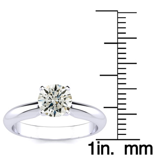 1ct Hearts & Arrows Diamond Solitaire Ring in 18k WG, IJ  SI3