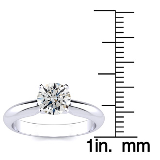 1ct Hearts & Arrows Diamond Solitaire Ring in 18k WG, H/I, SI2/I1