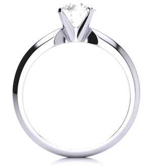 1 Carat Round Diamond Solitaire Ring in 14K White Gold