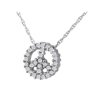 1/10ct Diamond Peace Sign Pendant in 10k White Gold, 31 Diamonds!