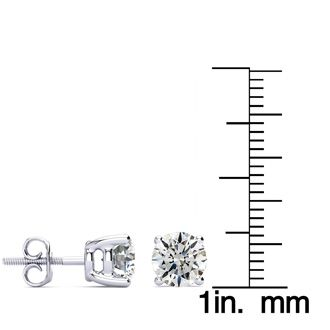 18K 2ct Diamond Stud Earrings, I-J Color, SI2-SI3 Clarity