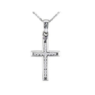 1/8ct Diamond Cross Pendant in 10k White Gold