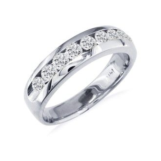 1/4ct Round Diamond Band in 14k White Gold At A Fantastic Price!