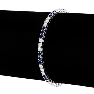 Fine Quality 4.86ct Sapphire and Diamond Bracelet in 14k White Gold