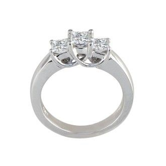 1/2ct Princess Three Diamond Ring in 14k White Gold, I/J, SI2/SI3