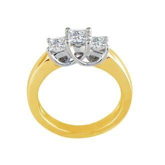 1/2ct Princess Three Diamond Ring in 14k Yellow Gold, I/J, SI2/SI3