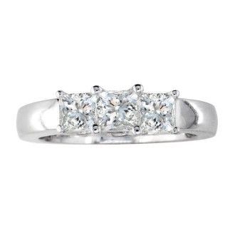 3/4ct Princess Three Diamond Ring in 14k White Gold