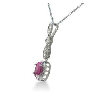 Dangle Style Ruby and Diamond Pendant in Sterling Silver