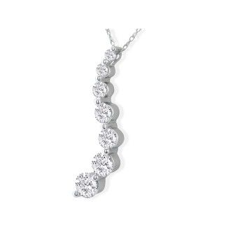 18k Curve Style 1 1/2ct 7 Diamond Journey Pendant in 18k White Gold