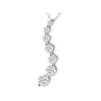 Curve Style 2 Carat 7-Diamond Journey Necklace in 14 Karat White Gold. Natural, Earth-Mined Diamonds