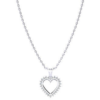1/2ct Diamond Heart Pendant in White Gold