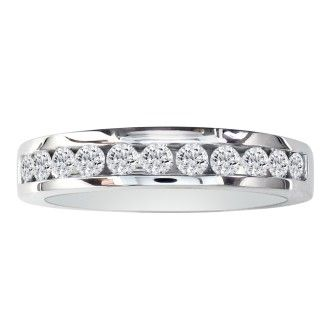1/2ct Round Diamond Band in 10k White Gold