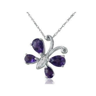 1.5ct Diamond and Amethyst Butterfly Pendant in 14k White Gold