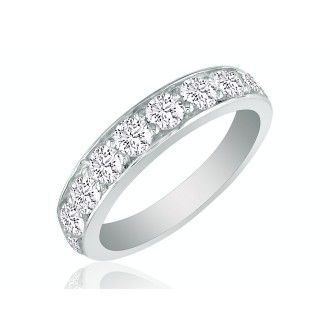 1/2ct Prong Set Diamond Band in 10k White Gold, 11 Diamonds!