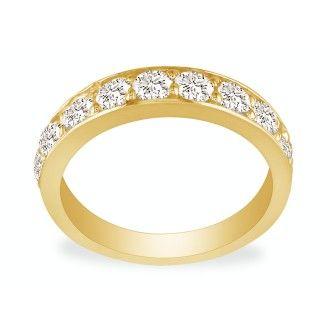 1/2ct Prong Set Diamond Band in 10k Yellow Gold, 11 Diamonds