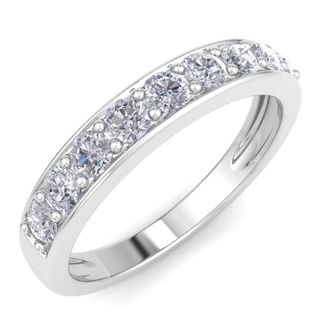 1/2ct Prong Set Diamond Band in 10k White Gold, 9 Diamonds!