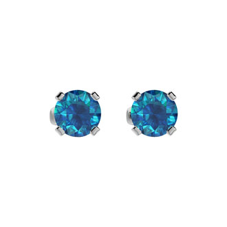 1/2ct Blue Diamond Stud Earrings in 14k White Gold