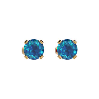 1/2ct Blue Diamond  Stud Earring in 14k Yellow Gold