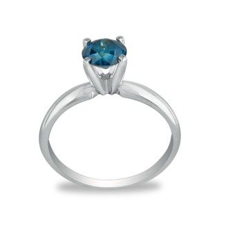 1/4ct Blue Diamond Ring in 14k White Gold