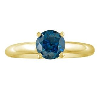 1/4ct Blue Diamond Ring in 14k Yellow Gold