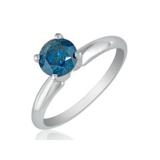 3/4 Carat Blue Diamond Solitaire Ring in 14k White Gold
