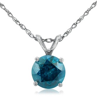 1CT Blue Diamond Pendant in 14k White Gold, CRAZY  DEAL!