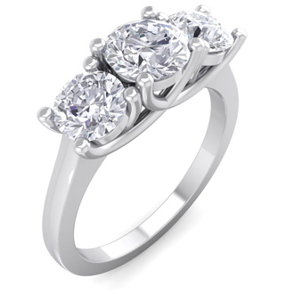 2 Carat Three Diamond Ring In 14 Karat White Gold