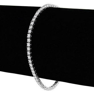 2.60 Carat Diamond Tennis Bracelet In 14 Karat White Gold, 9 Inches