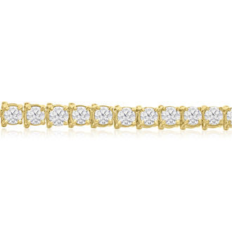 7 Inch 14K Yellow Gold 9 Carat TDW Round Diamond Tennis Bracelet (J-K, I2-I3)