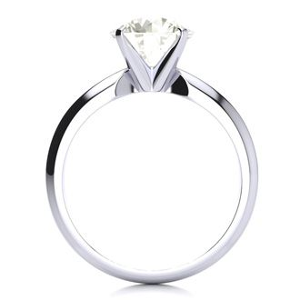 2 Carat Round Diamond Solitaire Ring in 14K White Gold