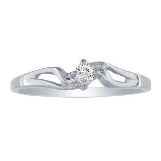 Pretty Bypass Open Shank 10k White Gold Diamond Promise Ring