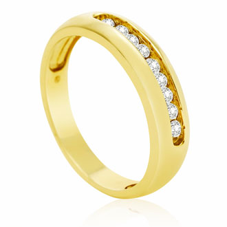 1/4ct Round Diamond Heavy Mens Wedding Band in 14k Yellow Gold
