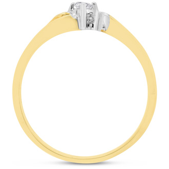 Pretty Bypass Open Shank 10k Yellow Gold Diamond Promise Ring