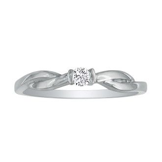 Beautiful Twist Band Diamond Promise Ring, 10k White Gold