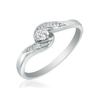 Bypass Diamond Promise Ring in 10k White Gold