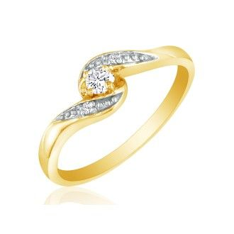 Bypass Diamond Promise Ring in 10k Yellow Gold