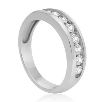 1/2ct Round Diamond Heavy Mens Wedding Band in 14k White Gold, Size 8