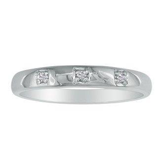 Three Diamond Promise Ring in 10k White Gold
