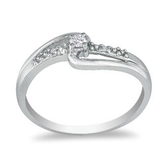 Beautiful Open Shank Diamond Promise Ring, 10k White Gold
