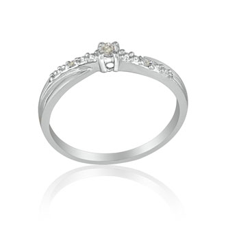 Beautiful Crossover Diamond Promise Ring, 10k White Gold