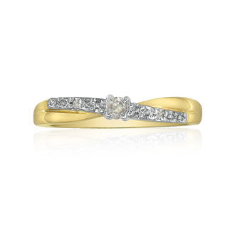 Beautiful Crossover Diamond Promise Ring, 10k Yellow Gold