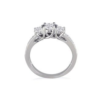 1ct Three Diamond Plus Engagement Ring, 14k White Gold
