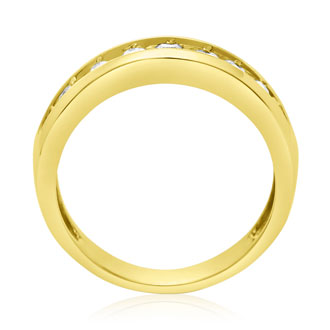 1/2ct Round Diamond Heavy Mens Wedding Band in 14k Yellow Gold, Size 8