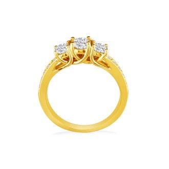 1ct Three Diamond Plus Engagement Ring, 14k Yellow Gold