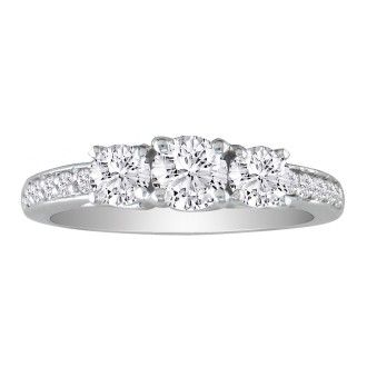 1 1/2ct Three Diamond Plus Engagement Ring, 14k White Gold